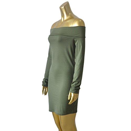 WOCACHI Frauen trägerlose reizvolle Art und Weise Kleid Verband Kleid Art lange Hülse dünnes Kleid Grün