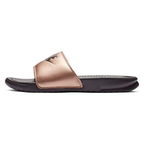 Nike wmns benassi jdi, scarpe da spiaggia e piscina donna, multicolore (mtlc red bronze/thunder grey 900), 36.5 eu