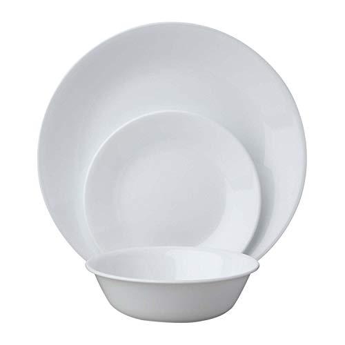 Corelle Geschirr-Set Winter Frost White aus Vitrelle-Glas für 6 Personen 18-teilig, Splitter- und bruchfest