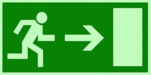 Fluchtweg/Notausgang Rettungsweg Symbol rechts DIN Folie nachleuchtend &. selbstklebend 300x150mm