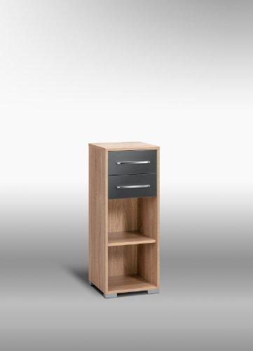 MAJA-Möbel 1224 2574 Aktenregal mit Schubladen, Sonoma-Eiche-Nachbildung - grau Hochglanz, Abmessungen BxHxT: 42,1 x 109,7 x 40 cm