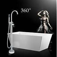 GOWE cromato indipendente per vasca da bagno con supporto a pavimento, per doccia a mano Spray nave Rubinetto lavello in ottone e rubinetti miscelatori