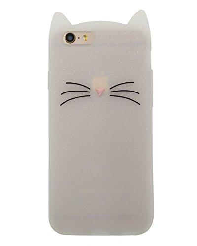 iPhone 6 / 6S Hülle, BENKER Hochwertig Schlagfeste und Kratzfeste Weich Silikon Kreativ 3D Cartoon Telefon Fall - Star Balloon Weiße Bart Katze