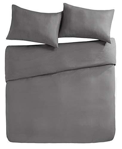 Bettwäsche 200x200cm Grau Einfarbig Mikrofaser 3-teilig Bettbezug & Kissenbezüge 50x75cm Angenehm und Weich Solid Duvet Ideal für Winter