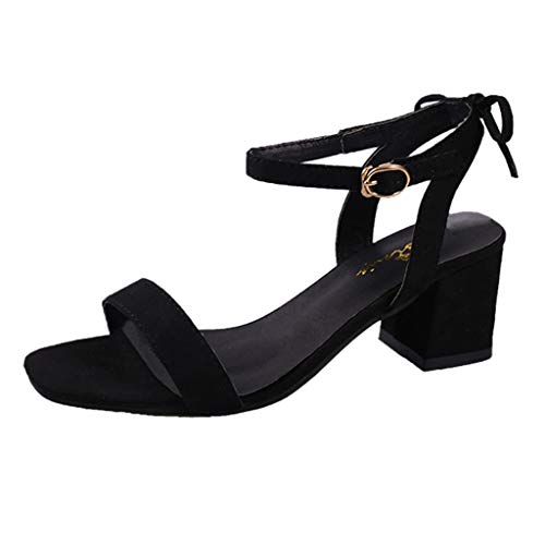 Riou Scarpa Scarpe col Tacco Donna Scarpe con Cinturino alla Caviglia Donna Peep Toe Sandali Basso Scarpe Ciabatte