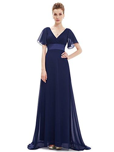 Ever Pretty Damen V-Ausschnitt Lange Abendkleider Festkleider Größe 36 Navy Blau
