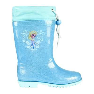 Stivali stivaletti pioggia bambina frozen elsa disney in gomma n. 27 celesti con glitter e grafica frozen
