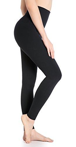 DeepTwist Yoga Hose für Damen Hohe Taille - Bauch Kontrolle Shapewear Workout Running Hosen Fitness Knöchel Full-Length Leggings mit Breiten Bund Schwarz, UK-DT4005-Black-6
