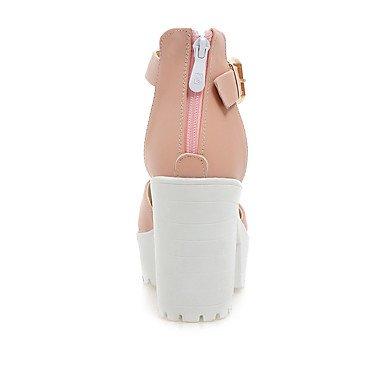 LvYuan Da donna Sandali Scarpe formali Finta pelle Primavera Estate Casual Formale Serata e festa Scarpe formali Quadrato Bianco Blu Rosa12 cm e White