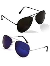 SUNGLASSES COMBO - SILVER BLUE MERCURY AVIATOR SUNGLASSES AND AVIATOR BLACK SUNGLASSES WITH 2 BOXES Best Online...