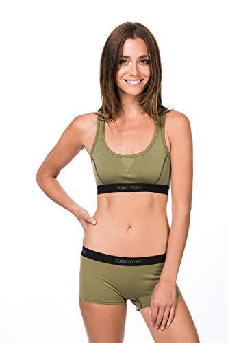 super.natural Damen Sport-BH, Mit Merinowolle, W SEMPLICE BRA 260, Größe: XL, Farbe: Beige/Khaki -