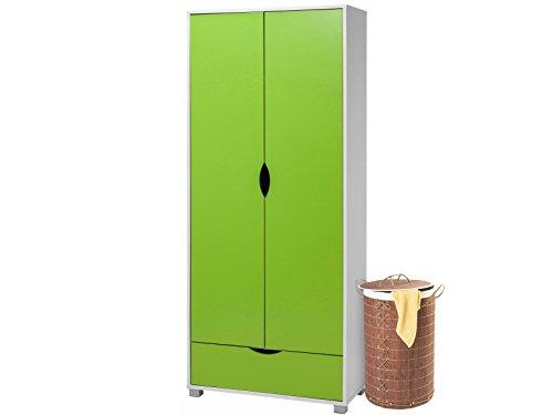 Loft24 Nelson Kleiderschrank grün weiß Garderobenschrank Dielenschrank Schlafzimmer Schrank 2...