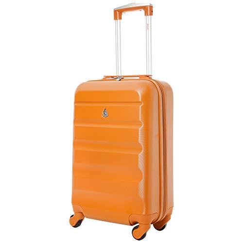 Aerolite abs trolley bagaglio a mano valigia rigida leggera con 4 ruote, approvata per ryanair, easyjet, alitalia, air italy, lufthansa e molte altre (bruciato arancione)