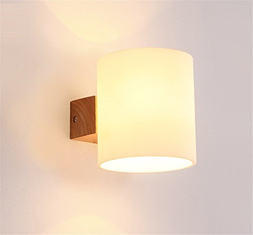 E27 moderno creativo de vidrio esmerilado pantalla de madera 1 cabeza de la pared de la lámpara dormitorio sala de estar pasillo pasillo Hotel café resturante luz de la pared interior casa oficina centro comercial Decor,12*13cm