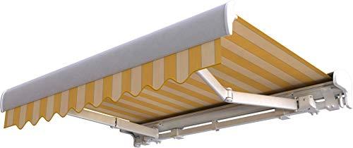 Broxsun Kassettenmarkise Pacific | Breite 2.1 bis 7m | 120 Stoffe Farben | Auslage bis 3.6m. manuell oder elektrisch | wetterfeste Markise mit Motor Sonnenschutz Terrasse beschattung breit
