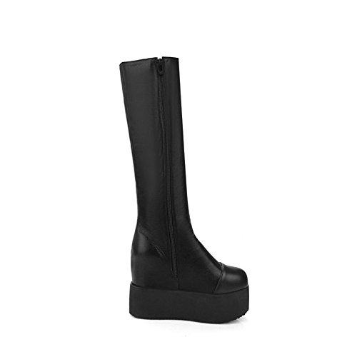 AllhqFashion Damen Eingelegt Hoher Absatz Blend-Materialien Schnüren Stiefel mit Anhänger, Weinrot, 40