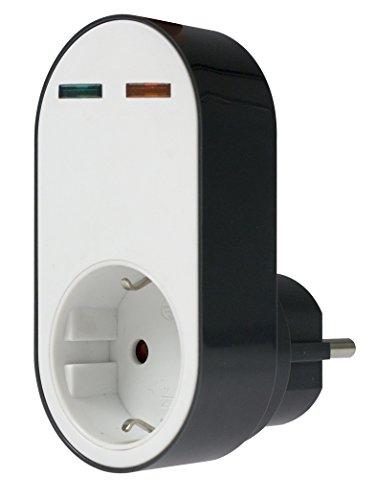 as - Schwabe 18611 Profi-Überspannungsschutz-Adapter Flash, Steckdose mit Schutz vor Überspannung, 230 V, Weiß/Schwarz