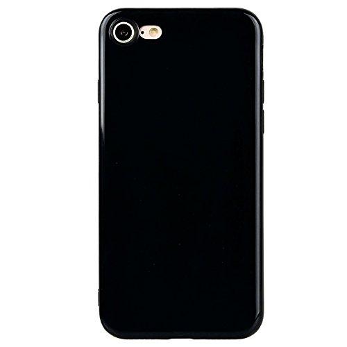iPhone 7 Hülle, Yokata Einfarbig Jelly Weich Silikon Gel Case Ultra Slim Matte Cover Anti-Fingerprint Schutzhülle Sehr Dünn Handyhülle - Lila Schwarz