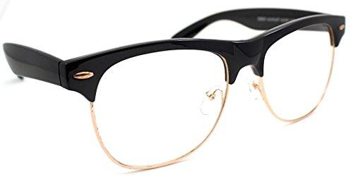 Pretty Smart Glasses Schwarz Clubmaster Rahmen Gold Rand Frauen Herren CLEAR LENS Gläser VTG 50's geekiger