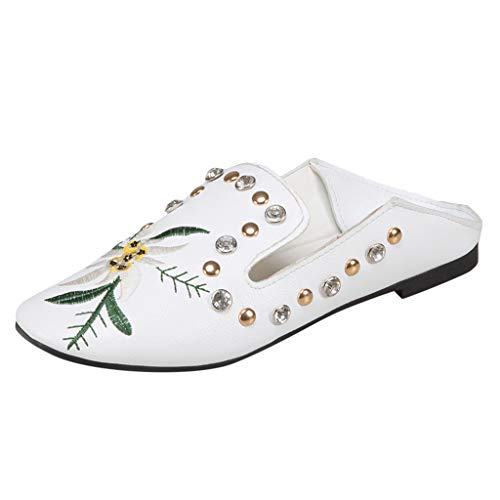 63ac2e458c7 Women s Printed Flat Shoes Wild Single Shoes Rivet Embroidered Ladies   Sandals by LuckyGirls