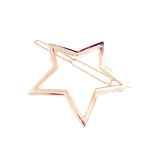 Bazhahei Pinza Para El Cabello Alloy Five-Pointed Star Hairpin Gold/Silver Horquilla de Horquilla Estrella de Cinco Puntas Huecas Para Mujer Gd