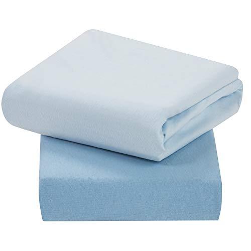 Clevamama set lenzuola culla in 100% cotone, coprimaterasso lettino e culla, blu, 60 x 120 cm