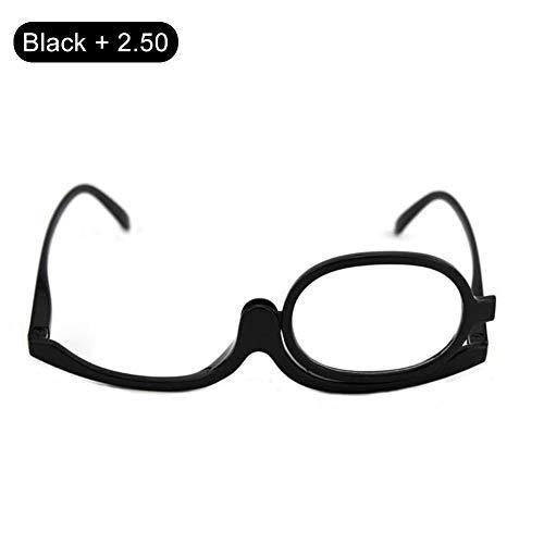 HUVE Beauty Make-up Lesebrille mit drehbarer Linse - Kosmetik-Schminkbrille für Damen Lupen-Schminkspiegel, 1 ~ + 4 -