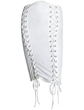 YiiJee Mujeres Falda Recta Casual Cintura Alta Slim Lace-Up Mini Lápiz Faldas Bodycon Skirt Corta de Partido