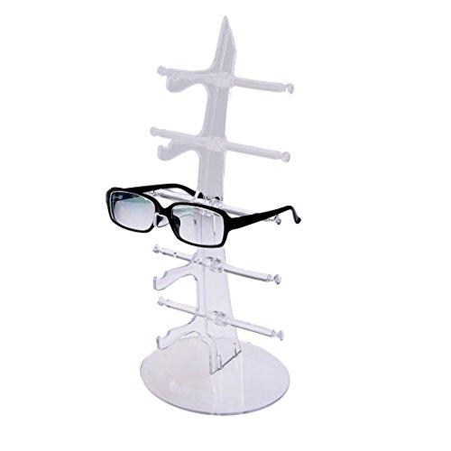 Ggoddess Brillenständer für 5 Brillen - Transparent 35 x 16 x 16 cm - Brillenhalter zur Aufbewahrung und Präsentation
