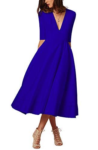 Damen sexy v-Ausschnitt Partykleid Abendkleider Cocktailkleid Elegant 1/2 arm Casual klassischer Stil Kleid lang-BU2XL