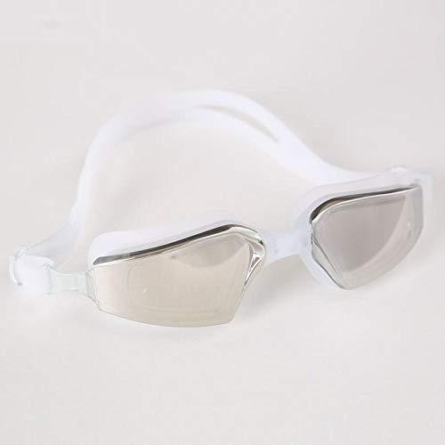 Erwachsene wasserdichte Antibeschlag-HD-Schwimmbrille, die das Trainingstauchen - Weiß schwimmt - Wasserdicht Schwimmt