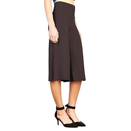 iShine Palazzo Hosen Damen Hosenrock elegant Wide Leg Pants Lagenlook Hosen 3/4 Lagen Hose mit leichte elastische-BK-L