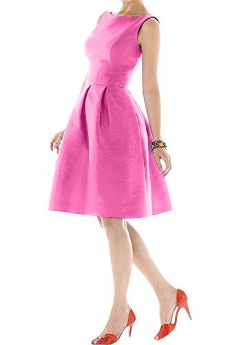 Sunvary Damen Rund Traeger Satin Cocktailkleider Kurz Abiball Abschlussballkleider Pink