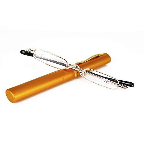 Mini Schmal Lesebrille Federscharnier Metall Lesehilfe Unisex-Sehhilfe mit Etui(Gold,+2.5) -