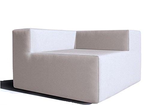 Muebles-exterior Córner Médium - Sofá mueble de jardín, 81 x 81 x 59 cm, color blanco