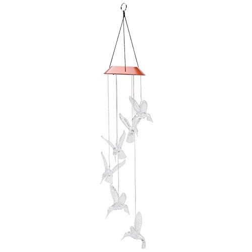 Zerodis Solar Windspiel LED Lichtsteuerung Solarbetriebene Sechs Kolibri Farbwechsel Mobile Hanging Wind Chimes Bell Nachtlicht Lampe für Festival Decor Valentines Geschenk (Transparent) Solar-mobile