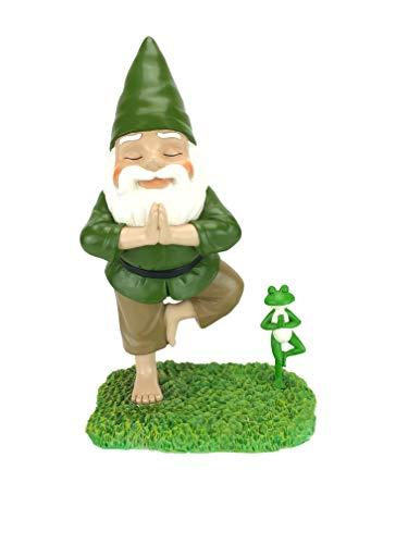 GlitZGlam Gnomo Zen e Rana Zen Posa Albero Tranquillità e Pace per Il Tuo Giardino delle Fate e Giardino degli Gnomi siglato Statuina Gnomo