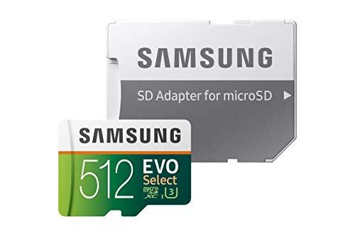 Samsung MB-ME512GA/EU Speicherkarte EVO Select microSDXC 512 GB bis zu 100 MB/s, UHS-I U3 inkl. SD Adapter grün/weiß
