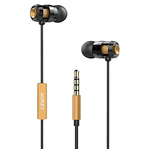 AUKEY Auricolare In Ear Stereo Universale, Cuffie Moving coil Headset con Microfono, Design avanzato per Enhanced Bass (Bassi Rafforzati) in Riduzione del rumore