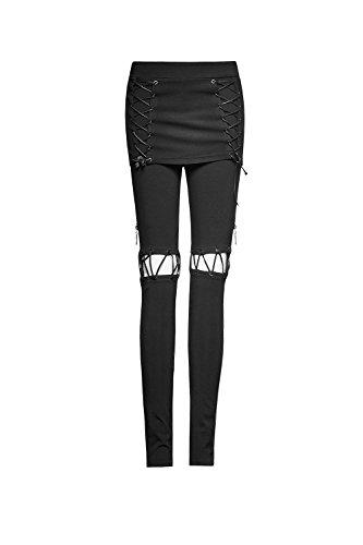 Punk Bandage Chic Skort Hosen für Frauen Elastische Taille Weiche Lange Hosen Mode Capris Black S