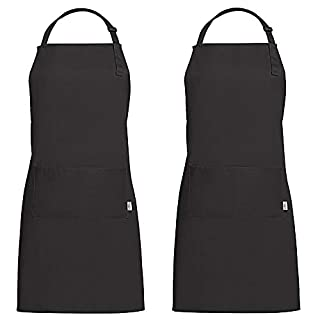 G.a HOMEFAVOR Set of 2 Black Chef Cooking Grill Apron Commercial Restaurant Home Neck band Cotton Kitchen Aprons (70 X 85 cm)