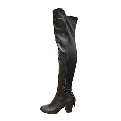 noir 3 Over 8 Womens Block Similicuir Knee Stretch Heel Thigh Boots Size High The Party axAwPx6