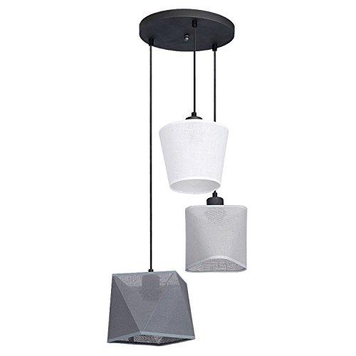 Weiß Graue Pendelleuchte 3-flammig runder Baldachin Metall Stoff Wohnraum Moderne Lampe Esszimmer Hängelampe - 3-licht-runde Baldachin