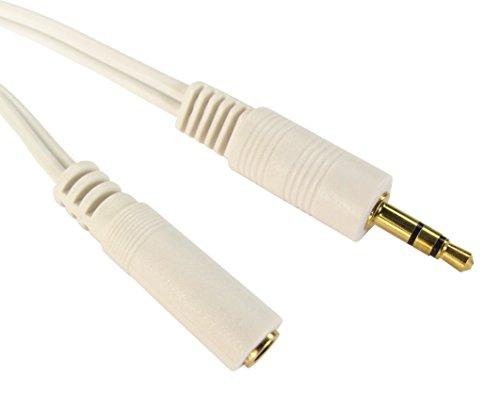World of Data-1m bis 20m 3,5mm Klinke Verlängerungskabel-Premium Qualität-24K vergoldet-Audio-Stereo-Stecker auf Buchse-Schwarz oder Weiß, Bunt Weiß Stereo-audio