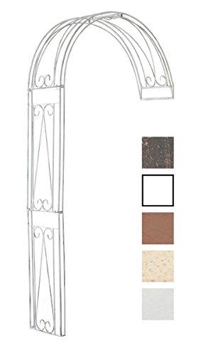 Clp semiarco piante rampicanti riccardo - sostegno piante con fissaggio alla parete i supporto piante esterno in ferro robusto, arco fiori a muro, h 258cm bianco antico 160 x 40 x 258 cm