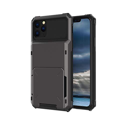Kartenschlitz-Kasten-Geldbörsenabdeckung, vier Ecken Fälle weicher TPU harter PC Kompatibel für iPhone 11 Pro maximales 6.5 Zoll/iPhone 11Pro 5.8 Zoll/iPhone 11 6.1 Zoll (iPhone 11 Pro Max Grau) -
