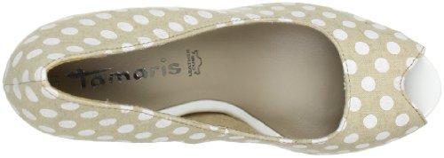 Tamaris 29304, Escarpins femme Multicolore (White/Sand 134)
