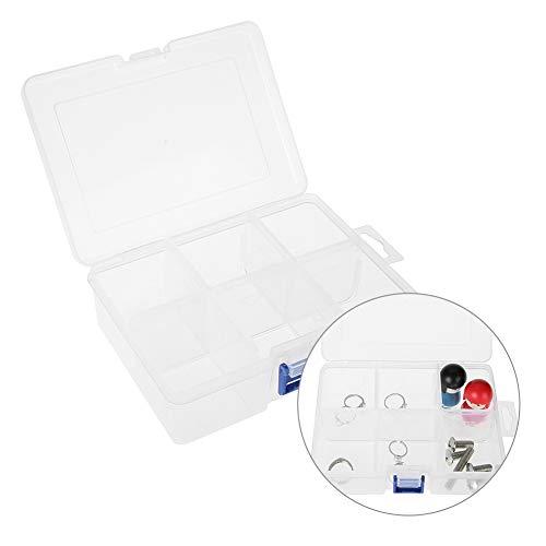 Kunststoff Aufbewahrungsbox, 6 Grids Transparenter Kunststoff Abnehmbare Grid Tablet Box Fall Veranstalter Aufbewahrungsbehälter für Medizin Pille Schmuck Hardware Werkzeug Schmuck zum Sortieren von P