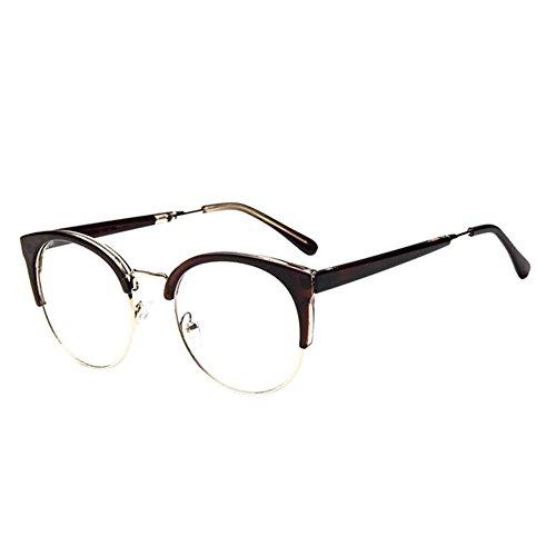 Hzjundasi Frauen Männer Persönlichkeit Cat Eye Groß Rahmen Eyewear Kurz Entfernung Kurzsichtig Kurzsichtigkeit Brille (Stärke -2.0, Tawny) (Diese sind nicht Lesen Brille)