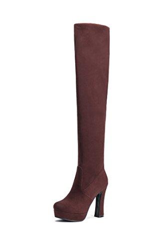 HUA&X Donna ruvida tacco alto alto sopra il ginocchio lunghi stivali scarpe di grandi dimensioni Brown